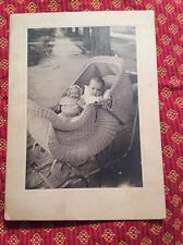 RARE Vintage Antique Mystery Googly Eyed Doll and Baby W Carriage Photo