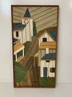 Lathe Art Church Village | Signed Artist Theodore DeGroot | Vintage Original MCM