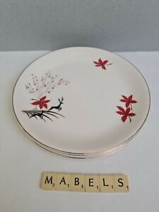 """ALFRED MEAKIN ~STAG - RED~ 9""""  luncheon plates x 4"""