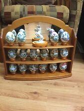 Princeton Gallery Unicorns 1993 Complete Set 16 Porcelain Eggs Figurine Cabinet