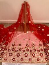 """RED GOLD METALLIC BORDER EMBROIDERY SEQUINS MESH LACE FABRIC 50"""" WIDE 1 YARD"""