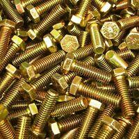 """3//8/""""-16 X 1-1//4/"""" Grade 8 Hex Head Cap Screw Bolt Yellow Zinc Plated Coarse 150"""