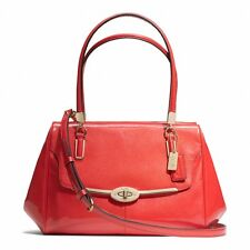 COACH Madison Madeline Small East / West Satchel Patent Leather Vermillion NWT