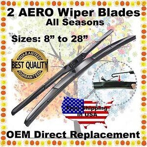 "AERO HYBRID 22"" / 22"" PREMIUM OEM QUALITY SUMMER WINTER WINDSHIELD WIPER BLADES"