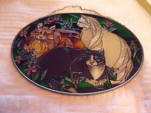 """Vintage Joan Baker Designs Hand Painted Cats LARGE 9"""" ~ 6 1/2"""" Stained Glass Art"""