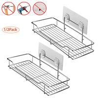 Wall Mounted Adhesive Bathroom Shelf Shower Basket Shelf Kitchen Organizer Rack