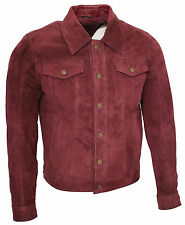 Men's Trucker Casual Burgundy Goat Suede Leather Shirt Jeans Jacket