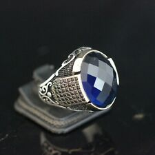 Turkish Handmade Jewelry 925 Sterling Silver Sapphire Men's Ring Size 9,10,11,12