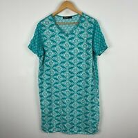 David Jones Womens Dress 14 Blue Textile Short Sleeve V-Neck Smock
