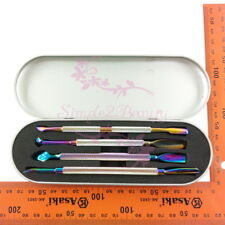 Nail Art Pusher Remover Cuticle Tool Kit Set Rainbow Dual-ended Stainless Steel