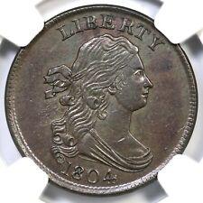 1804 C-9 R-2 NGC UNC Details Draped Bust Half Cent Coin 1/2c