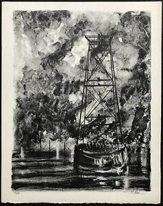 INDUSTRIAL SHORE Richard Florsheim ~ MID-CENTURY MODERN ~ Lithograph 1968 SIGNED