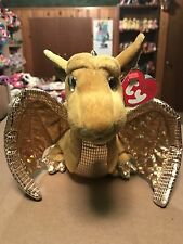 """Ty TEMPEST -Gold Sparkly Dragon 10"""" Ty Classic! *Retired Exclusive* RARE & VHTF!"""