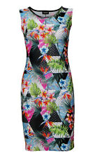 Designer Tropical Floral Leaves Polka Dot Marble Vintage Bodycon Midi Dress