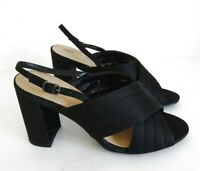 M&S Size UK 5 Wider Fit Lovely Black Satin Fabric Sandals 3.75 Heels VGC