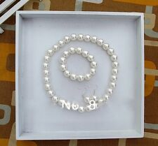 Beautiful Pearl Necklace Earrings Bracelet for Girl Children Wedding Jewelry Set