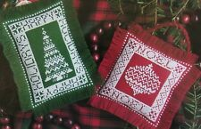 FESTIVE TREE TRIMMERS, Cross Stitch Pattern, 2 CUTE CHRISTMAS PILLOW ORNAMENTS
