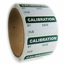 """Writeable Green """"Calibration"""" Labels Stickers - 1"""" by 2"""" - 500 ct Roll"""