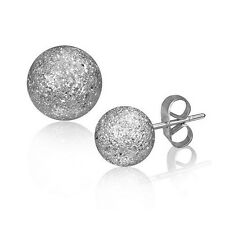 316L Surgical Stainless Steel Frosted Dust Ball Studs Earrings 7mm