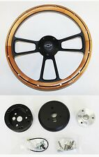"Nova Chevelle El Camino Steering Wheel Alder Wood Black Spokes 14"" Bowtie Cap"