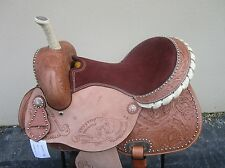 15 BARREL RACING SILVER SHOW PLEASURE FLORAL TOOLED LEATHER WESTERN HORSE SADDLE