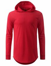 Mens HOODED Elongated Long Sleeve Pullover Long line hoodie Distressed