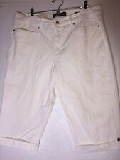 Gloria Vanderbilt Skimmer Missy Womens 16 Capri Pants Shorts White Stretch Denim