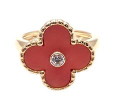 VAN CLEEF & ARPELS Vintage ALHAMBRA 18k Yellow Gold Diamond Coral Ring