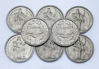 1949 New Caladonia 50 Centimes Coin Lot (8 coins) All in BU Condition! KM# 1