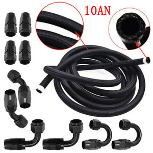 6M 10AN Nylon Stainless Steel Braided Oil Fuel Line &10 Fitting Hose 20 Feet Kit