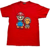 Super Mario Nintendo Mens Boys Tshirt Sz Size Medium Red Mario to Milo front