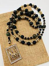 Handmade Rosary Sinaloense Buchon Jesus Malverde rosario BK de Oro laminado