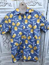 "New Men's Size L Blue Yellow HOSTESS TWINKIE Short Sl Casual Shirt Cotton 46"" Ch"