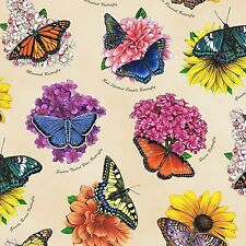 BUTTERFLY GARDEN CREAM FABRIC MATERIAL COTTON, From Elizabeths Studio NEW