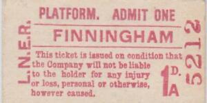 LNER Railway Platform Ticket FINNINGHAM 5212