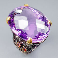 Vintage60ct+ Natural Amethyst 925 Sterling Silver Ring Size 8.5/R121137