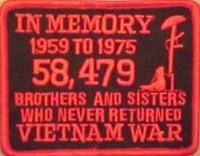IN MEMORY OF....VIETNAM POW VET MOTORCYCLE BIKER CLUB MILITARY VEST PATCH K-16