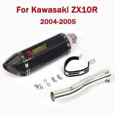 For Kawasaki Ninja ZX10R 2004 2005 Mid Connect Tube With 470mm Exhaust Muffler