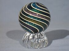 "Marbles: Hand Made Art Glass Alloway Dichroic ""Glitterball""#314   2.47inch"