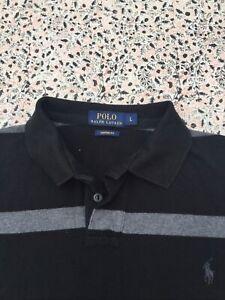 RALPH LAUREN - Custom - Black-Grey - Striped - Short Sleeve - Polo Shirt - L