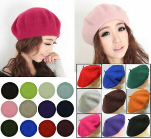 Lady Elegant Wool French Beret Women's Solid Color Plain Beanie One Size Autumn