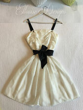 NWT! GINGER & SMART White/Black Soft Silk/Cotton Full Sweet Pocket Dress SZ-10
