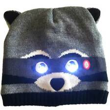 Raccoon hat with bright LED lights in the eyes. See and be seen in the dark.