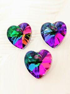 Heart shape Heliotrope Xilion Quality Crystal Beads Rainbow Iridescent 14mm 3PCS