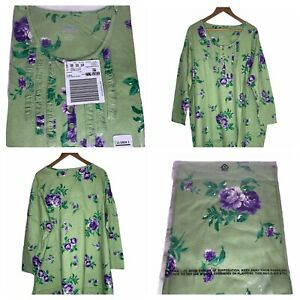 NEW Only Necessities Woman Within Green 2X Nightgown Cotton Plus Size Floral