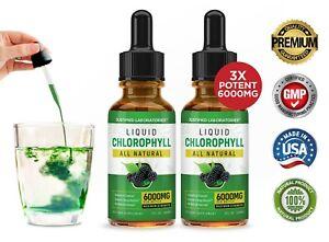 Liquid Chlorophyll Water Drops Triple Strength 6000MG Fast Absorbing 2 Pack