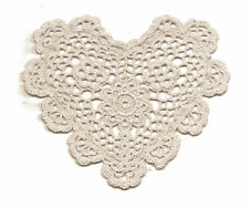 "Crochet Heart Doily Ecru 6"""