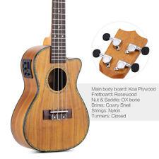 """ammoon 24"""" Cutaway Ukulele Hawaii Guitar LED EQ Koa Plywood Cowry Shell N0B8"""