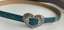 Girl's Justin Turquois Belt Size 28 Antiqued Silver Heart Buckle & Tip Leather