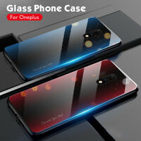 Fashion Gradient Tempered GLASS BACK Hybrid Case Cover For OnePlus 7T 7T Pro